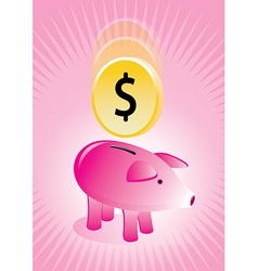 Piggy bank with coin poster vector