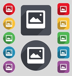 Photo frame template icon sign a set of 12 colored vector