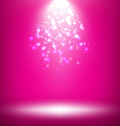 Illuminated stage with light template on pink vector