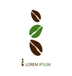 Green and brown coffee beans as logo vector
