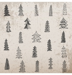 Hand drawn christmas tree set on grunge background vector