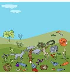 Pollution of the environment garbage and waste vector