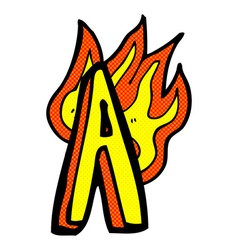 comic cartoon flaming letter vector image