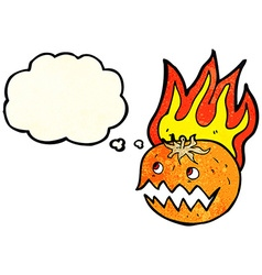 cartoon flaming pumpkin with thought bubble vector image