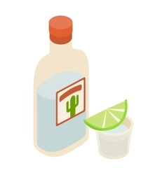 Tequila bottle and shot with lime icon vector
