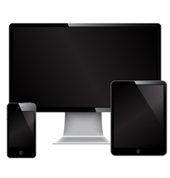 Phone monitor and mini computer vector