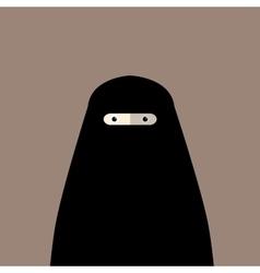 Muslim woman niqab flat avatar vector