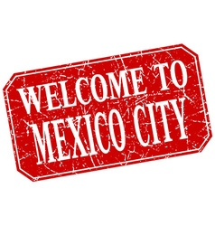 Welcome to mexico city red square grunge stamp vector