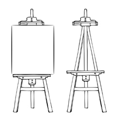 Wooden easel and canvas vector