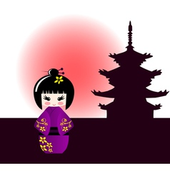 Kokeshi doll and japanese temple vector