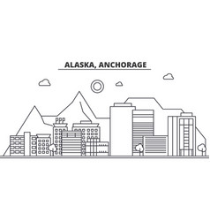 alaska anchorage architecture line skyline vector image vector image