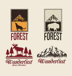 Beige color set with rectangle frame logo forest vector