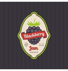 Blackberry jam retro fruit label vector