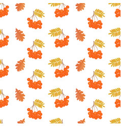 bunches of rowan and oak leaves seamless pattern vector image vector image