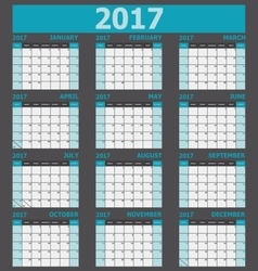 Calendar 2017 week starts on Sunday 12 months set vector image