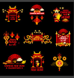 Chinese lunar new year holiday icon design vector