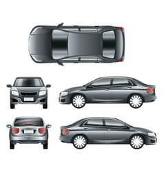 color car sedan in different point of views vector image vector image
