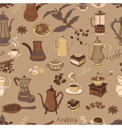 colored coffee seamless pattern vector image