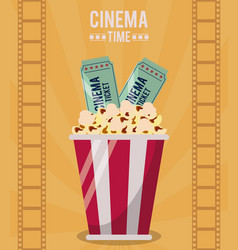 Colorful poster of cinema time with popcorn bucket vector
