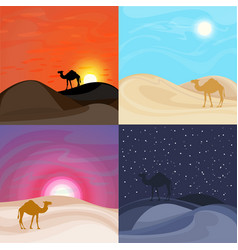Colorful sand desert landscape templates vector