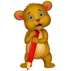 Cute brown bear cartoon holding red pencil vector image vector image