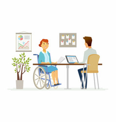 disabled woman in the office - modern cartoon vector image vector image