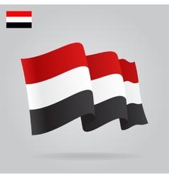Flat and waving yemen flag vector