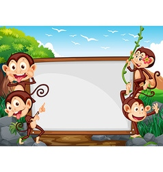 Frame design with four monkeys in the field vector