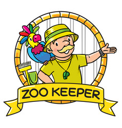 Funny zoo keeper with parrot emblem vector