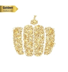 Gold glitter icon of gourd isolated on vector
