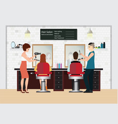 Hairdresser cuts customer s hair in the beauty vector