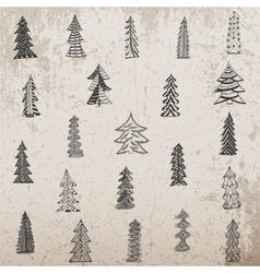 Hand drawn christmas tree set on grunge background vector