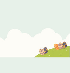 happy easter with egg and cloud landscape vector image