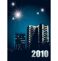 new year 2010 fireworks vector image
