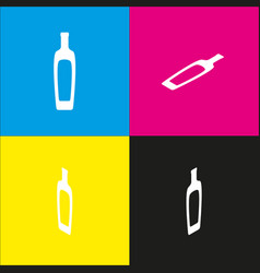 Olive oil bottle sign white icon with vector