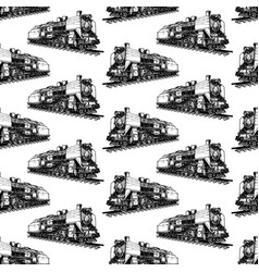 Pattern with steam locomotive vector