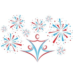 People with fireworks vector image