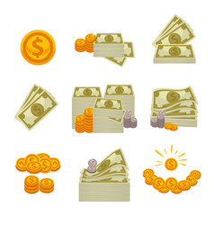 piles of paper dollars silver and gold coins vector image