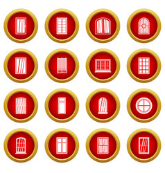 Plastic window forms icon red circle set vector
