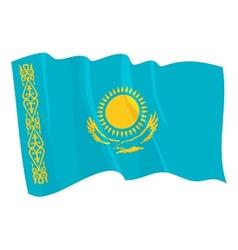Political waving flag of kazakhstan vector