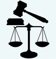 Scale and judge gavel vector