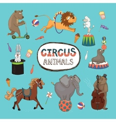 set of colorful circus animals vector image vector image