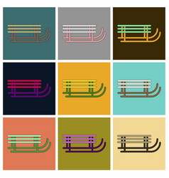 Set of icons in flat design sleigh vector