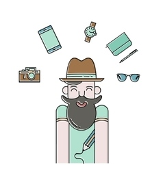 Smiling bearded man and gadgets icons vector image vector image
