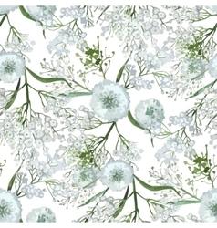 Watercolor gypsophila seamless pattern vector