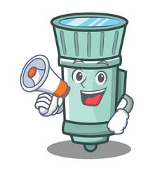With megaphone flashlight cartoon character style vector