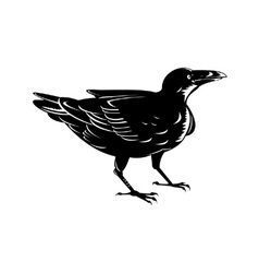 Black raven retro vector