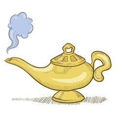 doodle genie lamp vector image