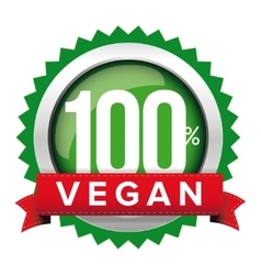 Vegan badge with red ribbon vector