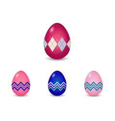 Set of argyle and line pattern painted easter eggs vector
